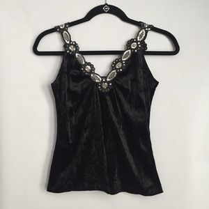 Tops - Black Velvet Embellishments Sequins Top Size Small